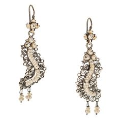 JJ Caprices - Silver Mexican Filigree Earrings with Pearls