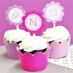 Whether it's the initial of your new, shared last name or your very own first name initial, these monogram cupcake wrappers and toppers add a personal touch to your favorite cupcakes.