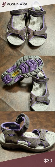 Girls Keen Sandals NWOT sz 13 Youth girls keen sandals. Velcro straps, great tread. Gray and purple. New, never worn. No box or tags. Smoke free, pet free home. Keen Shoes Sandals & Flip Flops