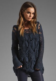 FREE PEOPLE Pacifica Crochet Hoodie in Navy at Revolve Clothing - Free Shipping!