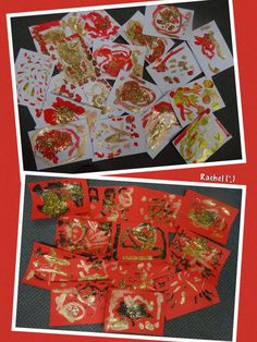 "Chinese New Year. red gold and black paintings from Rachel ("") Chinese New Year Crafts For Kids, Chinese New Year 2017, Chinese New Year Activities, Chinese Crafts, New Years Activities, Eyfs Activities, Nursery Activities, Chineese New Year, New Year Art"