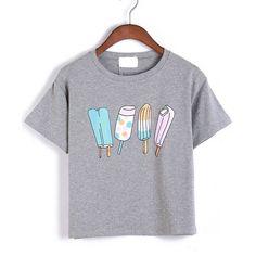 Romwe Ice Cream Print Grey T-shirt (€9,07) ❤ liked on Polyvore featuring tops, t-shirts, tees, blusas, grey, short sleeve tees, cream top, print t shirts, gray tee i grey t shirt