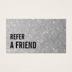 Referral Card | Modern Silver Glitter Beauty Salon - glitter glamour brilliance sparkle design idea diy elegant