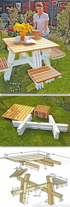Foldable Picnic Table Plans - Outdoor Furniture Plans and Projects | WoodArchivist.com