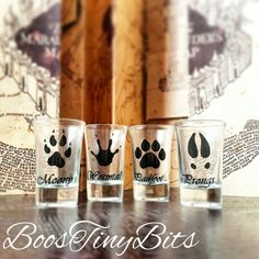 The Marauders Shot Glasses   Moony, Wormtail, Padfoot, Prongs   Hogwarts   Harry Potter   Gifts for him   Gifts for her   Vintage