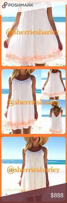 ✴️Plus Size New Summer Style Mandarin Orange Mini ✴️New Summer Plus Size Mandarin Orange  on White with Adjustable Straps Mini Dress Gorgeous print on Poly/Cotton blend to make your sun kissed skin sexier. Perfect for curvy style fun.   from maker without label. Dresses Mini