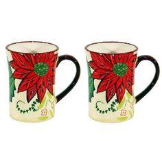 Ceramic Poinsettia Coffee Cup Christmas Mugs