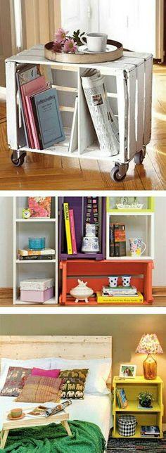 Customização de caixotes de feira. #ideiae #customizaçao #decor #ambientes #house