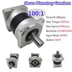 Gear Ratio 100:1 Nema36 Planetary Gearbox 12ARCMIN Input Shaft 20mm 250Nm Torque 6000RPM for 90mm Servo Motor
