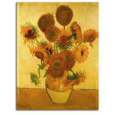 Vase with Sunflowers by Vincent Van Gogh Painting Print on Rolled Wrapped Canvas