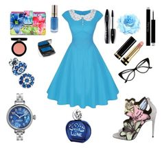 """Rhapsody in Blue"" by makishop ❤ liked on Polyvore featuring Pierre Hardy, Mundi, BillyTheTree, Shinola, Lancôme, L'Oréal Paris, Gucci, Armani Beauty, Christian Dior and Sisley"