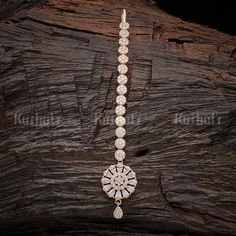 Designer zircon tikka studded with synthetic white zircon stones plated with Rose gold polish. Tika Jewelry, Indian Jewelry Earrings, Indian Jewelry Sets, Hair Jewelry, Gold Jewelry, Jewelry Accessories, Jewelry Design, Fashion Jewelry, Women's Fashion