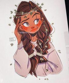 Cartoon Girl Drawing, Cartoon Sketches, Art Drawings Sketches, Girl Cartoon, Cute Drawings, Pretty Art, Cute Art, Cartoon Art Styles, Black Girl Art