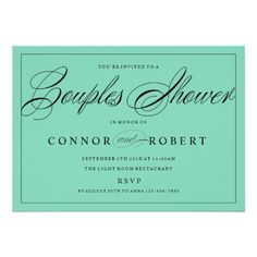 Couples Shower Invitation Black on Custom Color