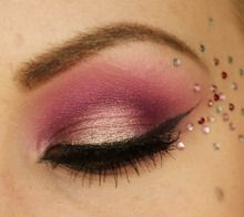 Pretty pink shadow with multi-color crystals.