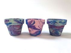 marbleized terra cotta pots painted with shaving cream