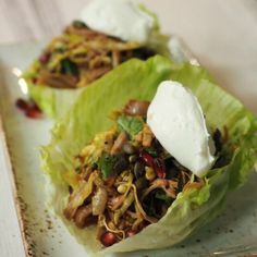Cups of lettuce filled with hand-pulled turkey meat and loads of spices, herbs & nuts