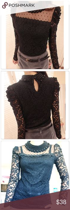 Fashion Long Sleeve O-Neck Sexy Lace Top Blouse Fashion Long Sleeve O-Neck Sexy Lace Top Blouse. 5⭐️ review ,Material: Lace Neck: O-Neck Sleeve: Long Sleeve Neck Decoration: Pearl Button: Back Button Style: Sexy Lace Blouse Pattern Type: Floral Unique style, make you more beautiful, fashion, sexy and elegant.                                                      ✅Price is firm unless bundle…