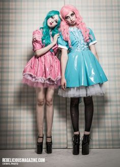Dresses by me for my alt clothing line (Trash Lolita Clothing) Editorial: Vinyl Bubblegum