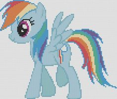 My Little Pony Inspired Pattern  Rainbow Dash by StitchedPixels, $1.25