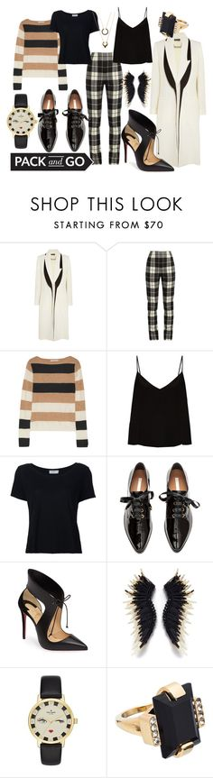 """""""posh winter plaid"""" by kc-spangler ❤ liked on Polyvore featuring Alexander McQueen, MaxMara, Raey, Frame, H&M, Christian Louboutin, Kate Spade, Marni, WithChic and Winter"""