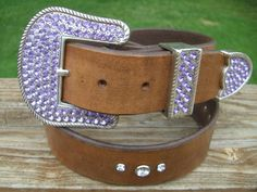 15 Inch Wide Leather Bling Belt with by DrygulchLeatherworks,