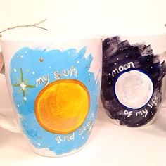 My Sun and Stars, Moon of My Life, Romantic Valentine's Day Hand-Painted, Up-Cycled, One-of-a-Kind Set of 2 Mugs