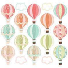 Digital Hot Air Balloon Clipart, Hot Air Balloon Party Printable, Clip Art, Graphic Image - Decoration For Home Hot Air Balloon Clipart, Air Ballon, Clip Art, Shower Banners, Baby Shower Balloons, Party Printables, Baby Shower Invitations, Planner Stickers, Decoration