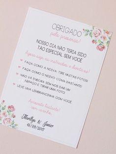 * Cartão confeccionado em papel off set 180g. * Medidas: Aproximadamente 9,6x14cm *É possível alterar layout, papel, acabamento, cores.. consulte disponibilidade e valores. __________________________ - Prazo de 5 dias úteis para pagamento, após isso o pedido será cancelado. - Leia as po... Wedding Bride, Wedding Engagement, Wedding Cards, Diy Wedding, Rustic Wedding, Dream Wedding, Wedding Day, Wedding Reception, One Sweet Day