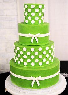 Lime Green & White Polka Dotted Wedding Cake #WeddingCakes www.finditforweddings.com
