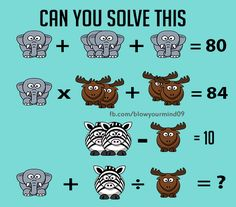 Solve this animal puzzle fun problem. Taken from https://facebook.com/BlowYourMind09