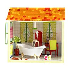 Bathroom (Bathtub Shower Dresser Mirror Bath Mat Towel Body Shampoo Bathrobe Partition)