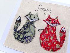 Foxy foxes unframed art or greetings card handmade by DottyOnline
