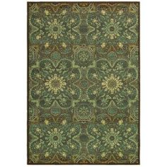 nice Couristan Alameda 5908/ 0915 Dahlia Brown/ Teal Rug (5'3 x 7'6)