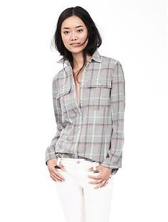 Soft-Wash Open Plaid Boyfriend Shirt | Banana Republic