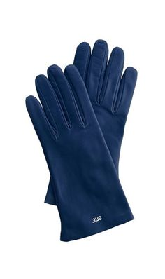 The monogram detail on these navy leather gloves adds a thoughtful touch.
