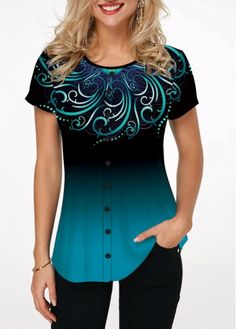 Women'S Cyan Round Neck Short Sleeve Tunic Casual Blouse Color Block Printed Button Detail Top By Rosewe Printed Round Neck Button Embellished Blouse Trendy Tops For Women, Stylish Tops, Blouses For Women, Women's Blouses, Formal Blouses, Casual Tops, Mode Outfits, Casual Outfits, Purple T Shirts