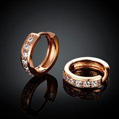 Arlumi 18k Rose Gold plated Clear Crystal Cubic Zircon Circle Stud Earrings E040-B