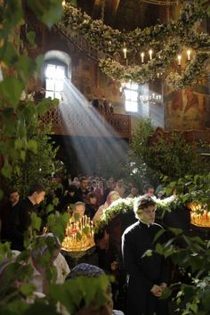 Orthodox church decorated for Easter