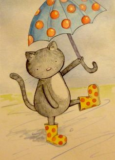 Kitty with polka dot boots, and umbrella
