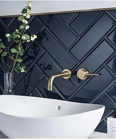 herringbone bathroom tile with brass fittings and white sink. herringbone bathroom tile with brass fittings and white sink. Double Sink Bathroom, Modern Bathroom, Small Bathroom, Master Bathroom, Double Sinks, Bathroom Black, Bathroom Canvas, Modern Sink, Master Baths