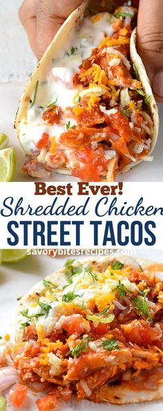 Try this easy and simple recipe of shredded chicken street tacos.If you love Mexican food and love those food truck juicy tacos then this chicken taco. Authentic Mexican Recipes, Chicken Taco Recipes, Easy Chicken Tacos, Street Tacos Recipe Chicken, Mexican Recipes With Chicken, Crockpot Chicken Tacos, Mexican Chicken Tacos, Authentic Mexican Chicken Taco Recipe, Easy Mexican Food Recipes