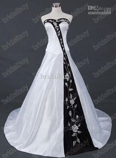 bc9055afb00c Wholesale 2013 Sexy Unique Wedding Dresses White amp; Black A-line  Strapless Embroidery Satin