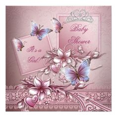 Baby Shower Girl Pink Princess Butterfly Custom Invite. #pink #babyshower #babyshowerinvitation