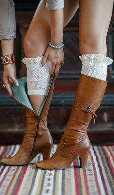 Ivory Lace Ruffle Boot Cuffs ♥
