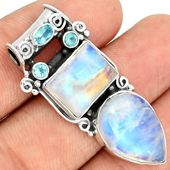 Blue Moonstone 925 Sterling Silver Pendant Jewelry BFMP807