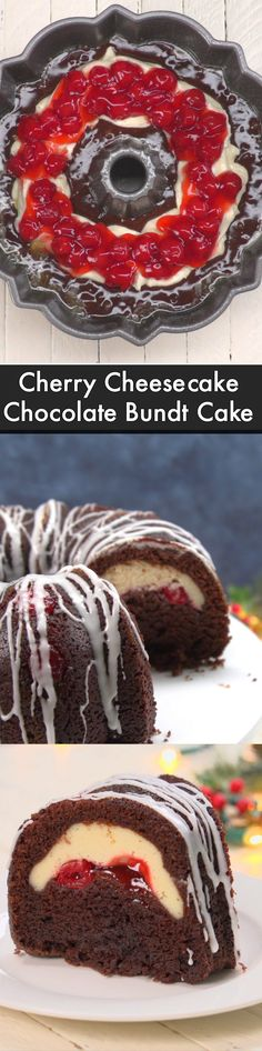 Cheesecake Chocolate Bundt Cake This Cherry Cheesecake Stuffed Chocolate Bundt cake looks elegant and is so easy to make.This Cherry Cheesecake Stuffed Chocolate Bundt cake looks elegant and is so easy to make. No Bake Desserts, Just Desserts, Delicious Desserts, Dessert Recipes, Baking Recipes, Cherry Desserts, Frosting Recipes, Cookie Recipes, Bunt Cakes