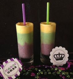 Mardi Gras smoothies for Fat Tuesday! If you don't want to make your own, come check out Silvertons Fat Tuesday Hurricanes!