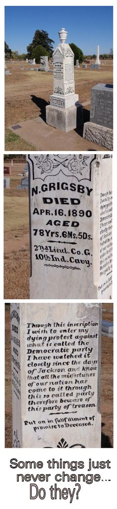 Tombstone. Need to read it carefully. There's a lesson to be learned here if tombstone is read carefully.