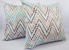 Blue and Brown Pillow Covers Two 16 x 16 by CastawayCoveDecor